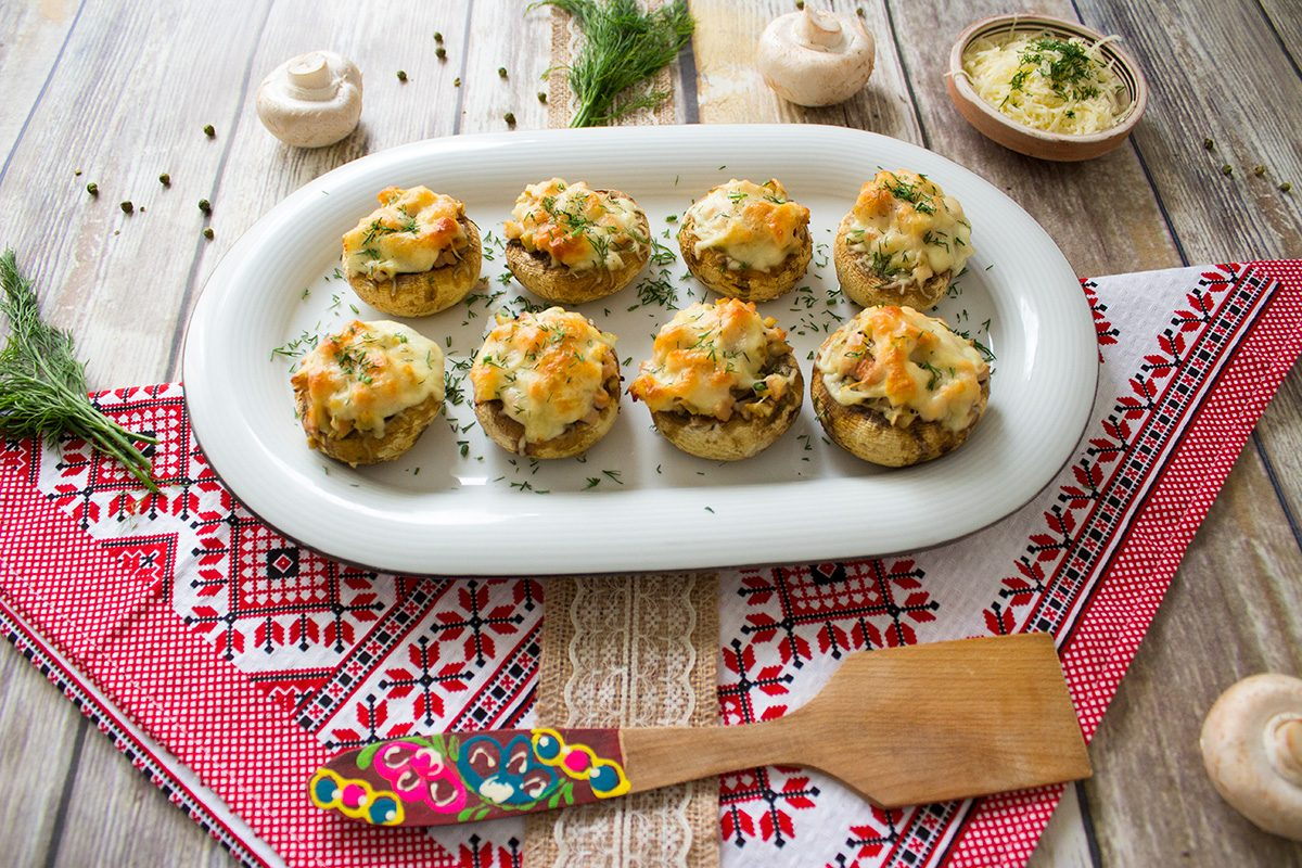 ham and cheese stuffed mushrooms