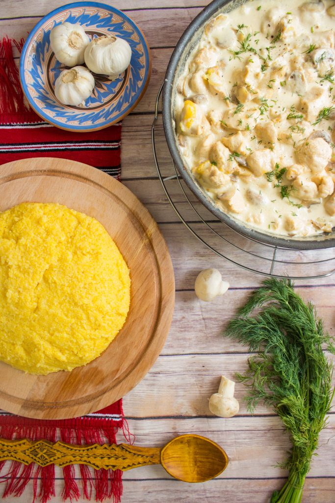 chicken in white sauce and polenta