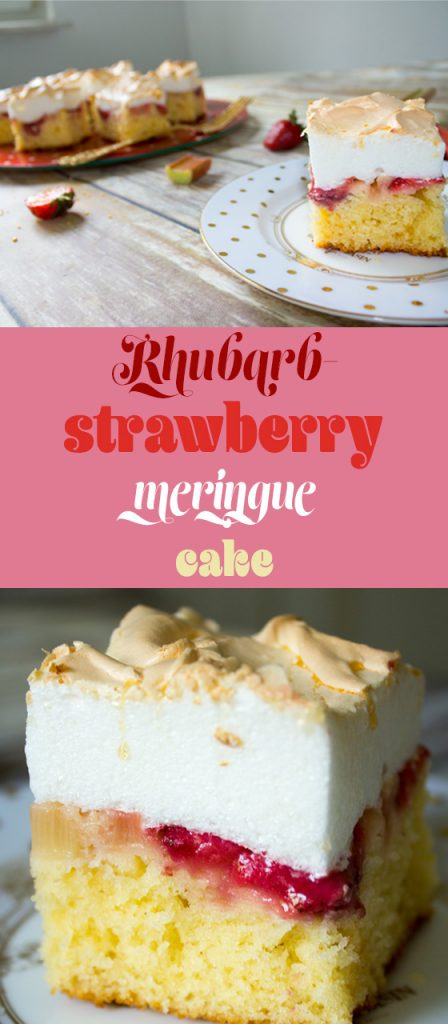 rhubarb strawberry meringue cake