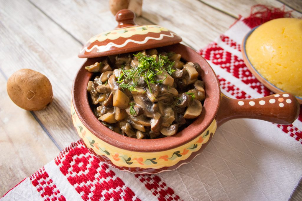 mushroom stew with polenta